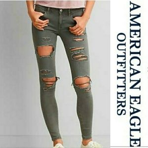 American Eagle | Olive Hi-rise Jeggings